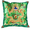 Fine Asianliving Chinese Cushion Hand-embroidered Green Yellow Dragon 40x40cm