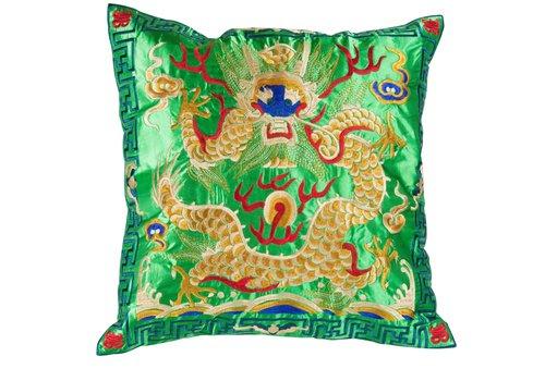 Fine Asianliving Chinesisches Kissen Handbestickt Grün Gelb Drache 40x40cm