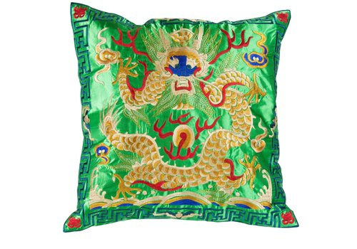 Fine Asianliving Cushion Cover Hand-embroidered Green Yellow Dragon 40x40cm without Filling