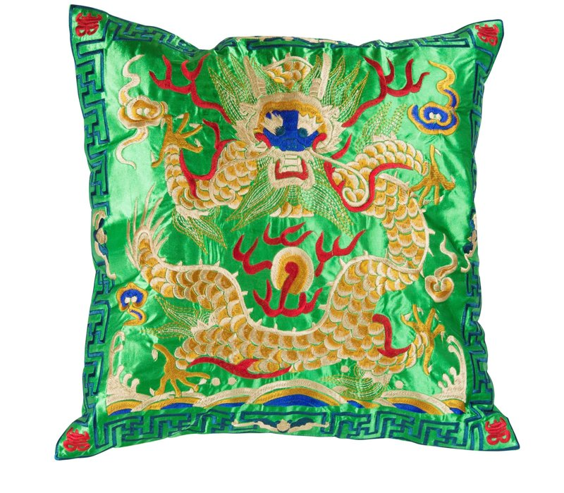 Cushion Cover Hand-embroidered Green Yellow Dragon 40x40cm without Filling