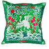 Fine Asianliving Cushion Cover Hand-embroidered Green Crane 40x40cm without Filling