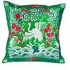 Fine Asianliving Kissenbezug Handbestickt Grün Kranich 40x40cm ohne Füllung