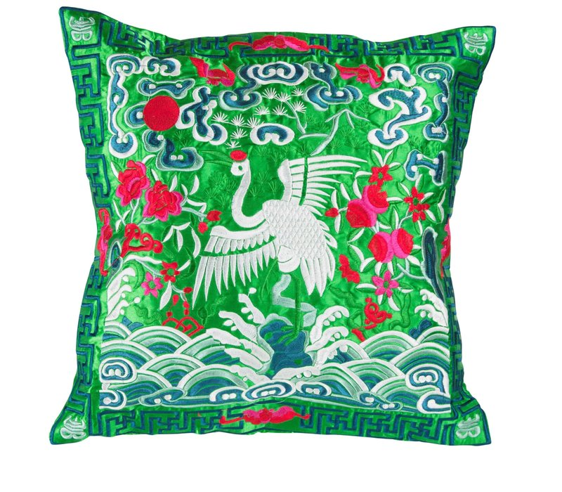 Cushion Cover Hand-embroidered Green Crane 40x40cm without Filling