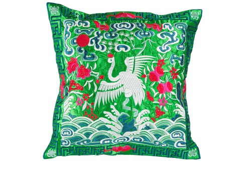 Fine Asianliving Chinese Cushion Hand-embroidered Green Crane 40x40cm