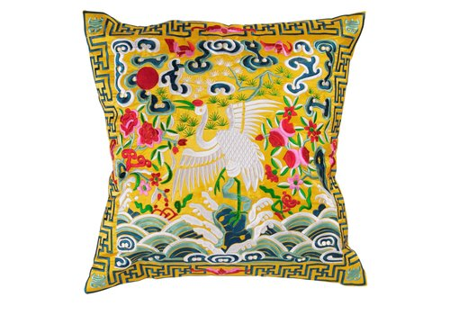 Fine Asianliving Chinese Kussen Volledig Geborduurd Geel Kraanvogel 40x40cm