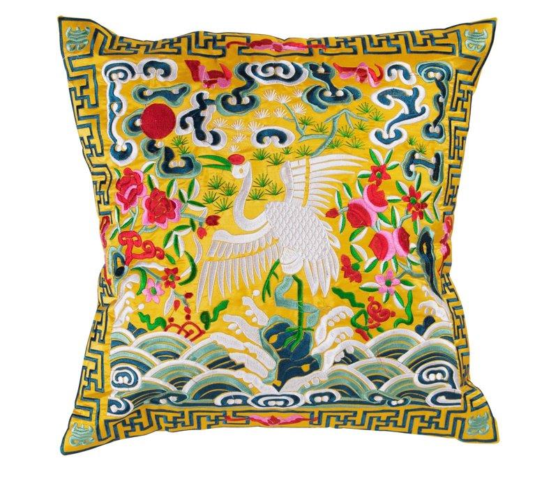 Chinese Kussen Volledig Geborduurd Geel Kraanvogel 40x40cm
