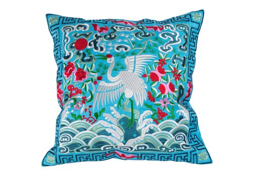 Fine Asianliving Chinese Cushion Hand-embroidered Blue Crane 40x40cm