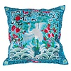 Fine Asianliving Cushion Cover Hand-embroidered Blue Crane 40x40cm without Filling