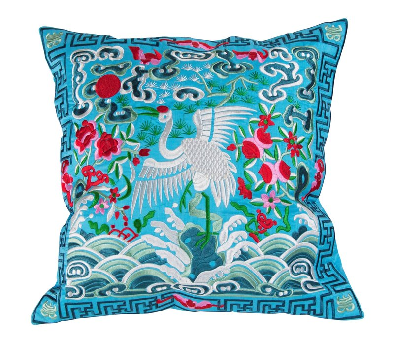Cushion Cover Hand-embroidered Blue Crane 40x40cm without Filling