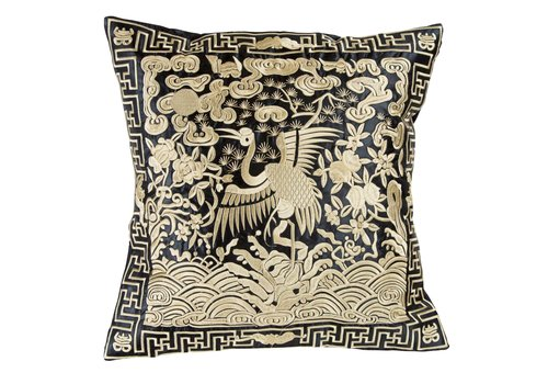 Fine Asianliving Chinese Cushion Hand-embroidered Gold Crane 40x40cm