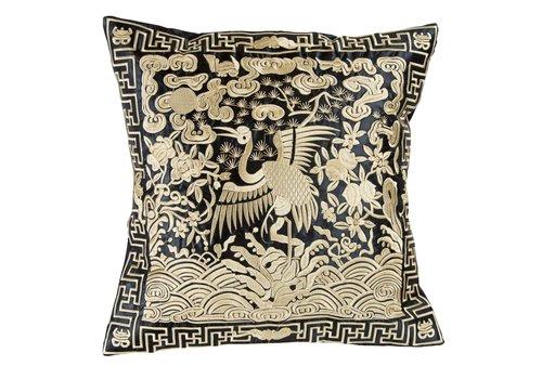 Fine Asianliving Chinese Kussen Volledig Geborduurd Goud Kraanvogel 40x40cm