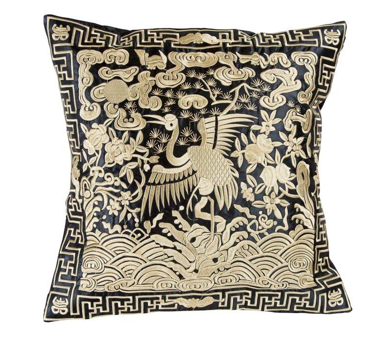 Chinese Kussen Volledig Geborduurd Goud Kraanvogel 40x40cm