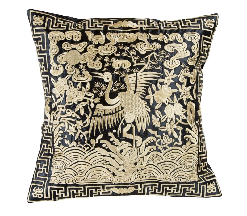 Cushion Cover Hand-embroidered Gold Crane 40x40cm without Filling