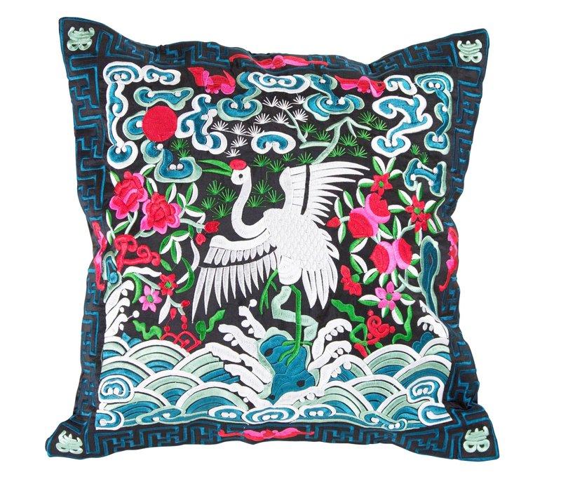 Chinese Kussen Volledig Geborduurd Blauw Zwart Kraanvogel 40x40cm