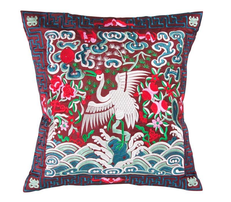 Chinese Kussen Volledig Geborduurd Bordeaux Kraanvogel 40x40cm