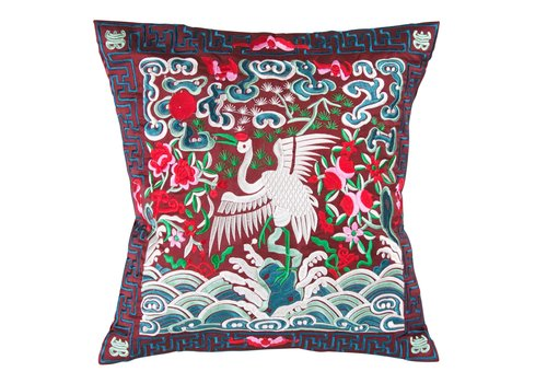 Fine Asianliving Cushion Cover Hand-embroidered Burgundy Crane 40x40cm without Filling