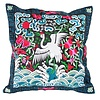 Fine Asianliving Cushion Cover Hand-embroidered Blue Black Crane 40x40cm without Filling