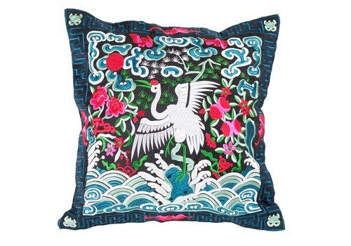Fine Asianliving Kussenhoes Volledig Geborduurd Blauw Zwart Kraanvogel 40x40cm Zonder Vulling