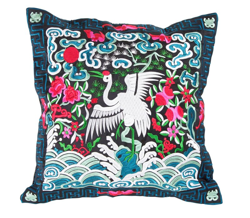 Cushion Cover Hand-embroidered Blue Black Crane 40x40cm without Filling