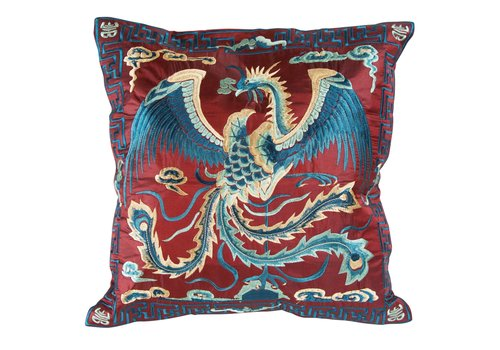 Fine Asianliving Chinese Cushion Hand-embroidered Burgundy Phoenix 40x40cm