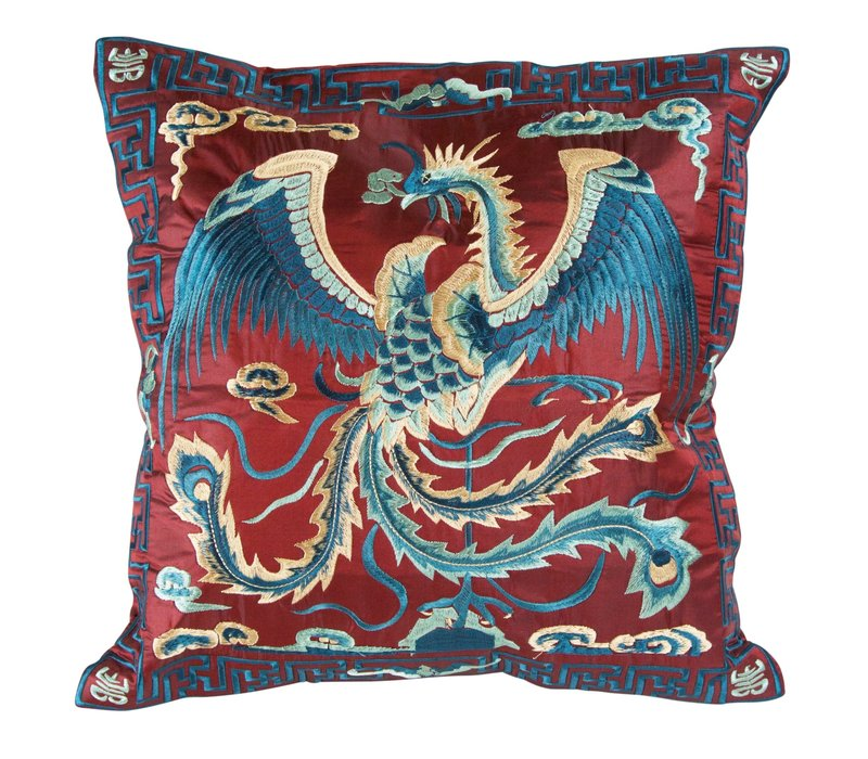 Cushion Cover Hand-embroidered Burgundy Phoenix 40x40cm without Filling