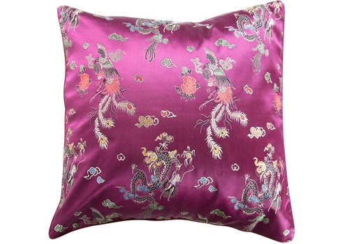 Fine Asianliving Chinese Cushion Dragon Purple 45x45cm