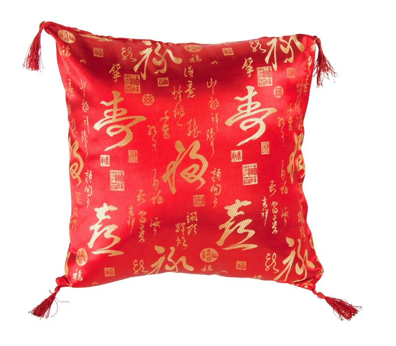 Chinese Cushion with Tassels Calligraphy Red 45x45cm