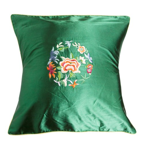 Fine Asianliving Chinese Cushion Green Flowers 40x40cm