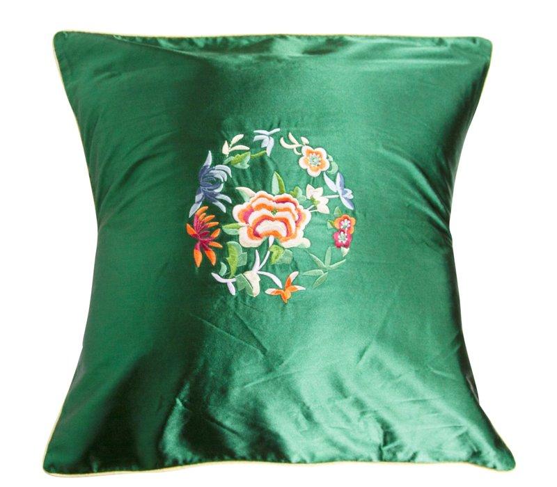 Chinese Cushion Green Flowers 40x40cm