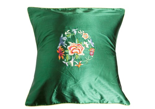 Fine Asianliving Housse de Coussin Verte Fleurs 40x40cm