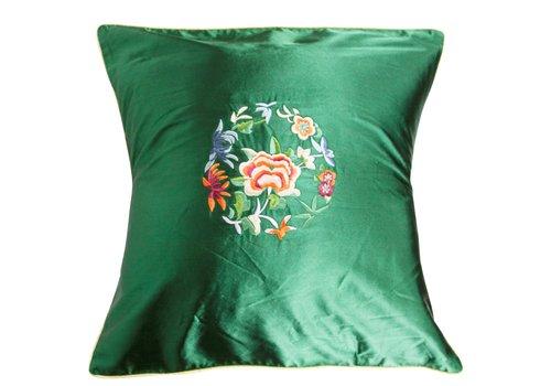 Fine Asianliving Kissenbezug Grün Blumen 40x40cm