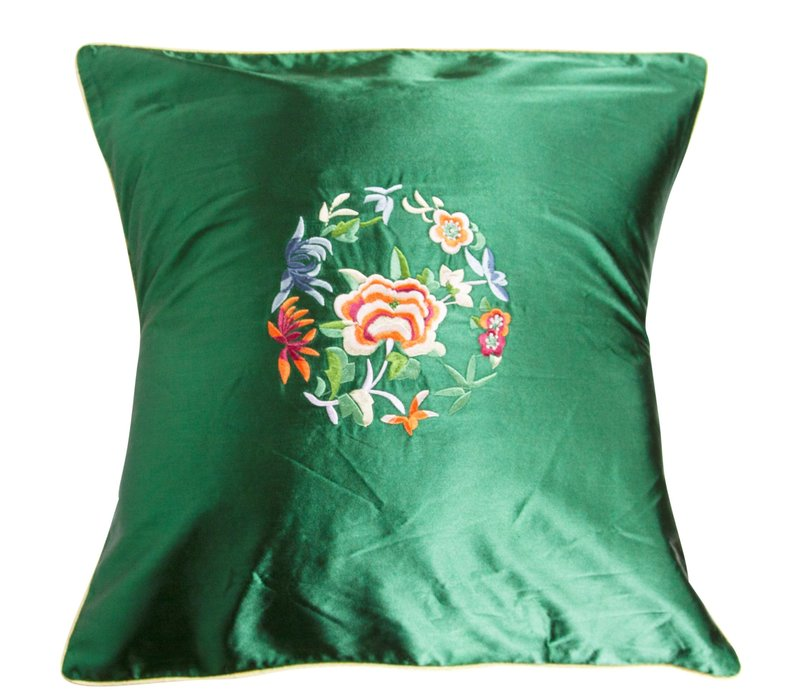 Cushion Cover Green Flowers 40x40cm
