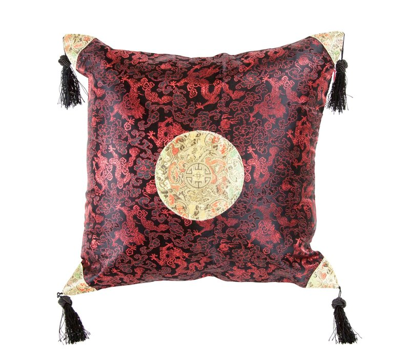 Chinese Cushion with Tassels Lucky Dragon Black Red 45x45cm