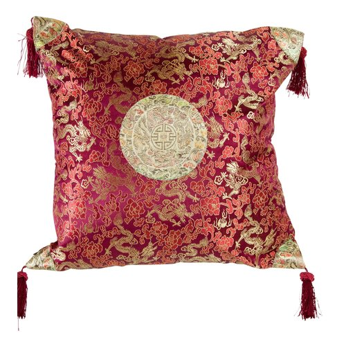 Fine Asianliving Cushion Cover with Tassels Lucky Dragon Burgundy Red 45x45cm without Filling