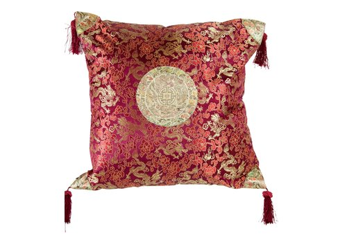 Fine Asianliving Chinese Kussen met Kwastjes Lucky Dragon Bordeauxrood 45x45cm
