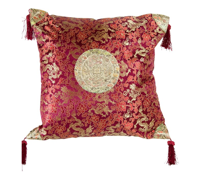 Chinese Cushion with Tassels Lucky Dragon Burgundy Red 45x45cm