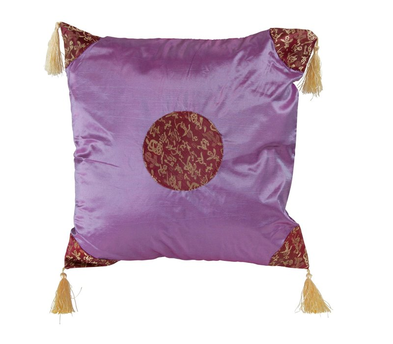 Chinese Cushion with Tassels Lucky Calligraphy Lila 45x45cm