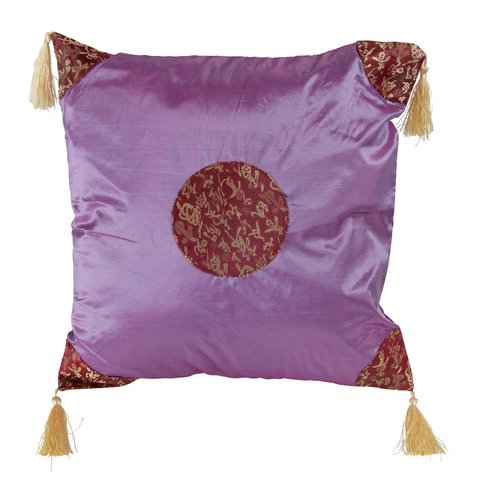 Fine Asianliving Cushion Cover with Tassels Lucky Calligraphy Lila 45x45cm without Filling