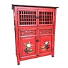 Fine Asianliving Armoire Chinoise Rouge peinte à la Main Détails L85xP45xH106cm
