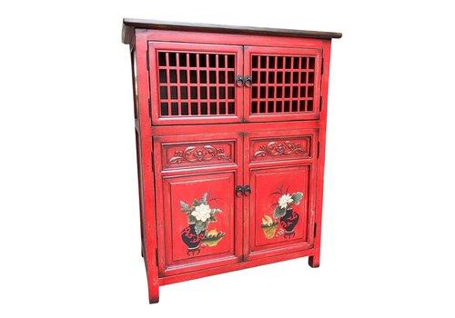 Fine Asianliving Armadio Cinese Dettagli Dipinti a Mano Rosso L85xP45xA106cm
