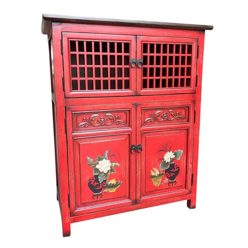Fine Asianliving Chinese Cabinet Red Hand-painted Details W85xD45xH106cm