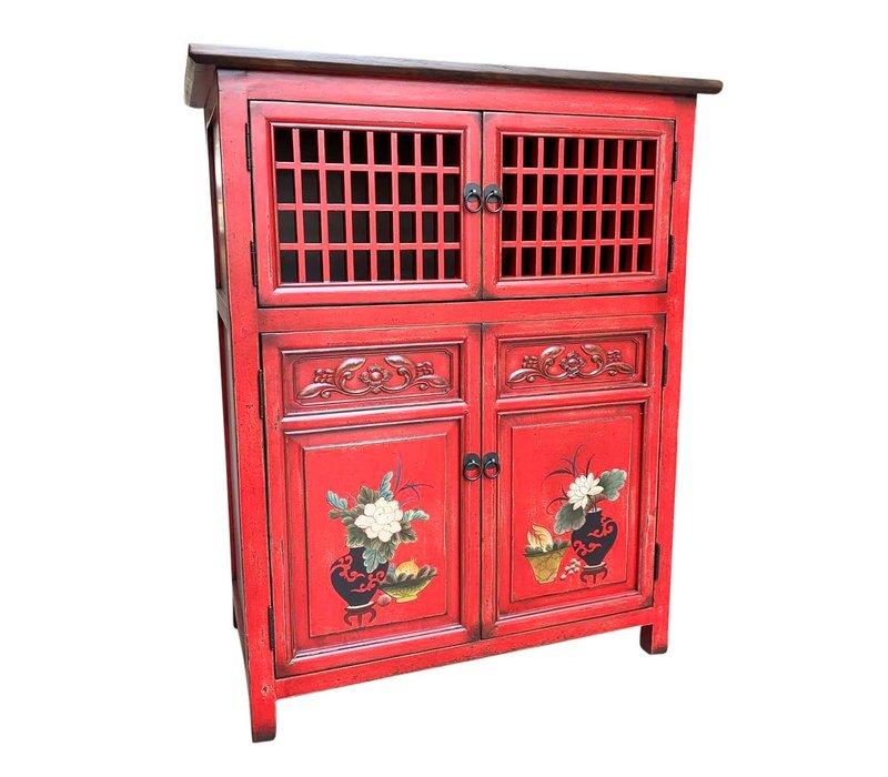 Chinese Kast Rood Handgeschilderde Details W85xD45xH106cm