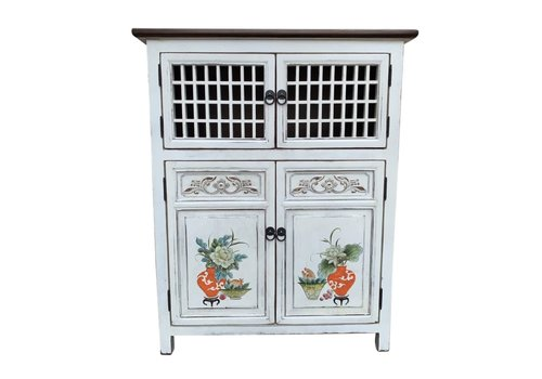 Fine Asianliving Chinese Cabinet White Handpainted Details W85xD45xH106cm