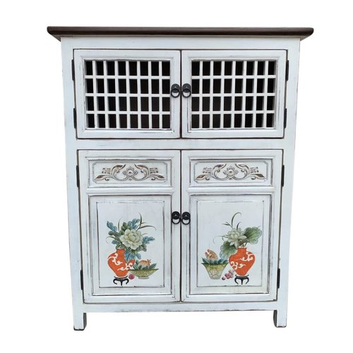 Fine Asianliving Chinese Cabinet White Hand-painted Details W85xD45xH106cm