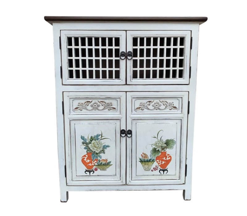 Chinese Cabinet White Hand-painted Details W85xD45xH106cm