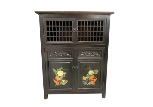 Fine Asianliving Chinese Cabinet Black Handpainted Details W85xD45xH106cm
