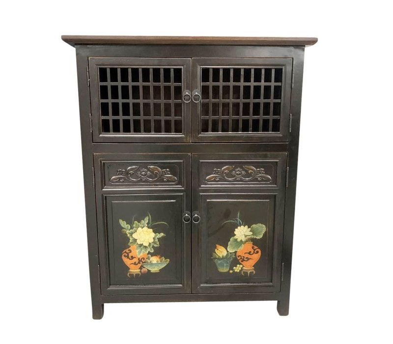 Chinese Cabinet Black Handpainted Details W85xD45xH106cm