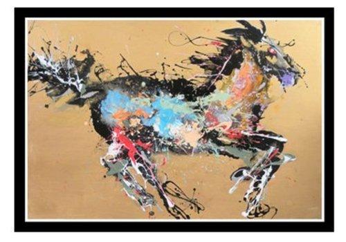 Fine Asianliving Tableau Décoration Murale Oriental Cheval Jaune L150xH100cm