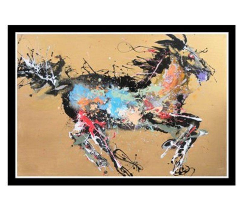 Oosters Schilderij Olieverf Chinees Paard Multicolour 150x100cm
