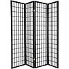 Fine Asianliving Japanse Kamerscherm B180xH180cm 4 Panelen Shoji Rijstpapier Zwart - Tana
